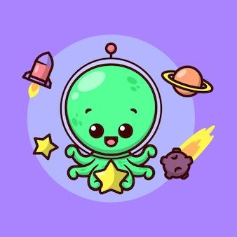 6 개의 촉수를 가진 귀여운 외계인이 노란색 별을 들고 유리 헬멧 만화 마스코트와 캐릭터 디자인을 착용하고 있습니다.