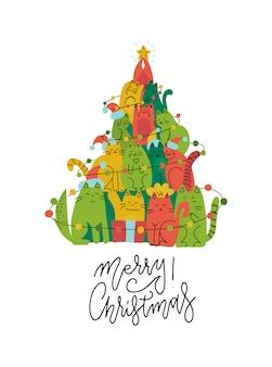 귀여운 녹색 및 빨강 고양이 크리스마스 트리 실루엣. 애완 동물 애호가를위한 재미있는 인사말 카드.