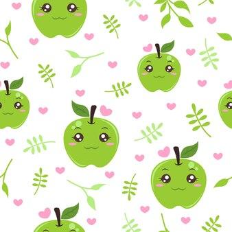 귀여운 녹색 사과 패턴 일러스트