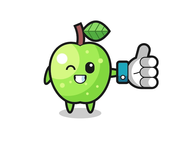 Cute green apple with social media thumbs up symbol , cute style design for t shirt, sticker, logo element