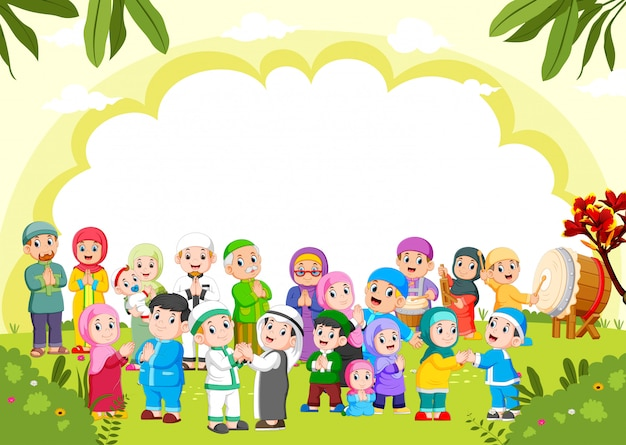 The cute green background with the muslim people around it