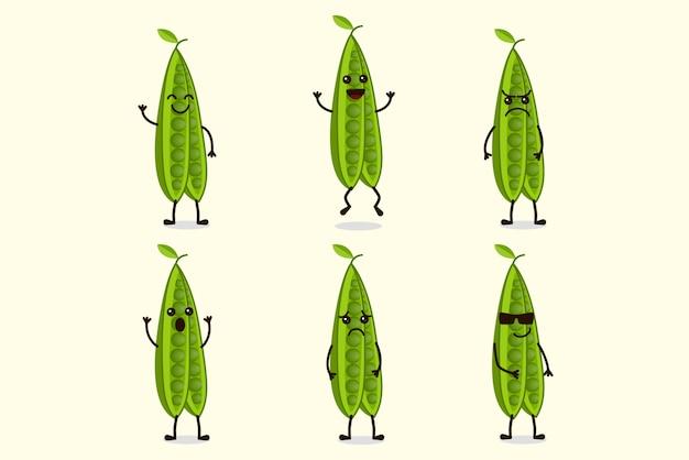 Симпатичные зеленые бобы символов иллюстрация еды set Premium векторы