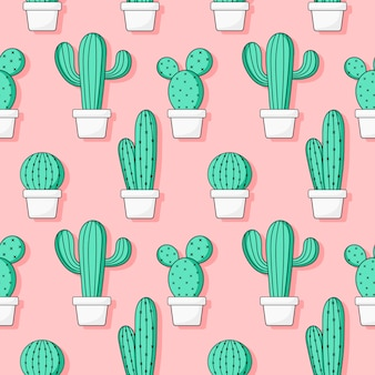 Cute green cactus seamless pattern on pink