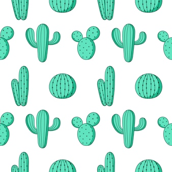 Cute green cactus seamless pattern on white