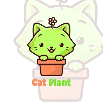 Cute green cat smiling in a fplower vase