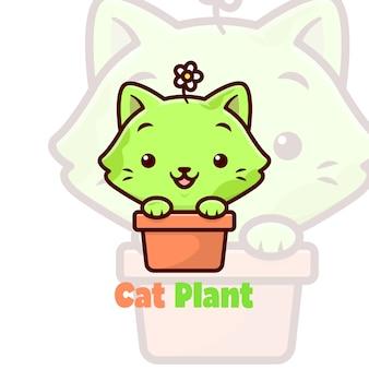 花瓶にかわいい緑の猫の笑顔 Premiumベクター