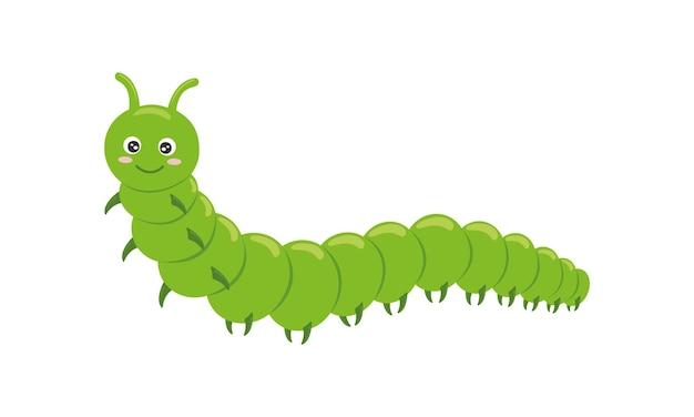Милый зеленый гусеница персонаж забавное насекомое для детей