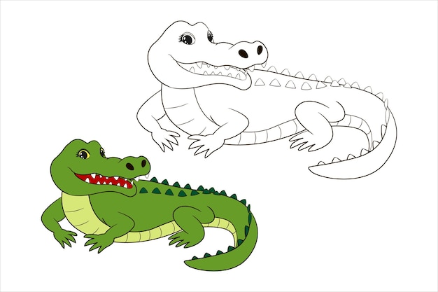 Cute green crocodile, coloring page for children. vector illustration isolated line art, in cartoon style