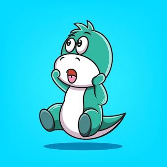 Милый зеленый дино мультфильм векторные иллюстрации