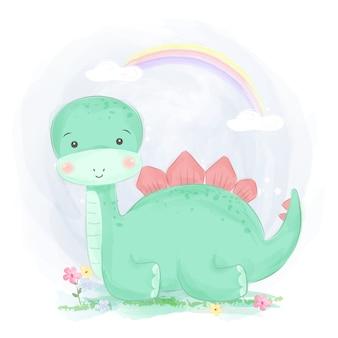 Милый зеленый динозавр иллюстрация