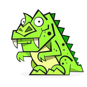 白い背景で隔離のかわいい緑の恐竜。面白い漫画のキャラクター、イラスト。