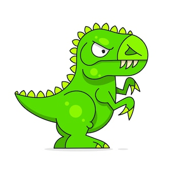 Cute green dinosaur isolated on white background