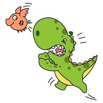 Cute green dinosaur jumping to holding bird.