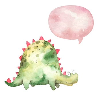 Милый зеленый динозавр улыбается и думает значок, облако, детская иллюстрация акварель