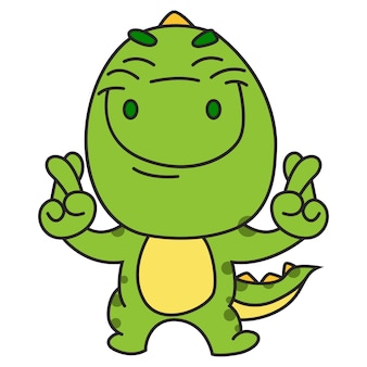 Cute green dinosaur standing with finger crossed sign.
