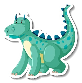 かわいい緑のドラゴンの漫画のキャラクターのステッカー