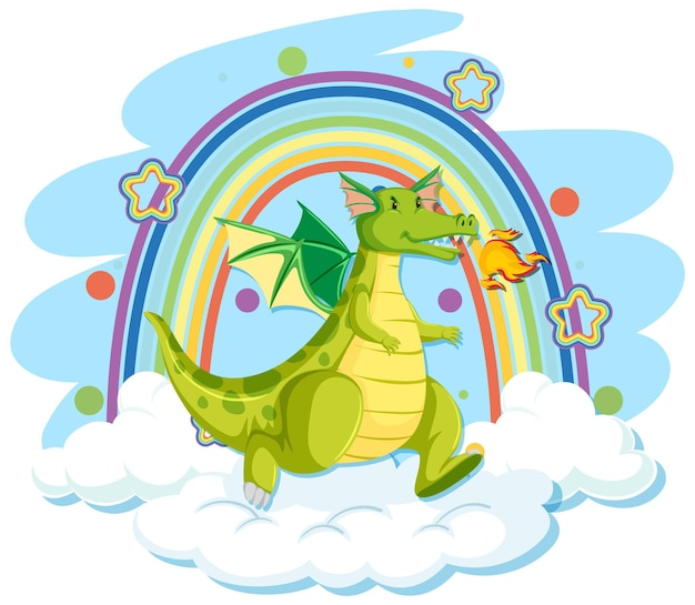 Cute green dragon on the cloud with rainbow