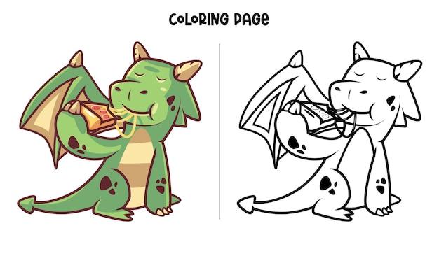 Милый зеленый дракон ест пиццу. раскраска для печати и книжка-раскраска