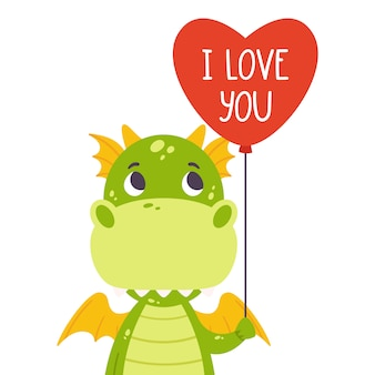 Cute green dragon with balloon in shape of heart and hand drawn lettering quote - i love you.
