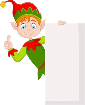 Cute green elf holding blank sign and giving thumbs up