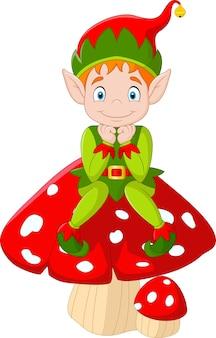 Cute green elf sitting on mushroom