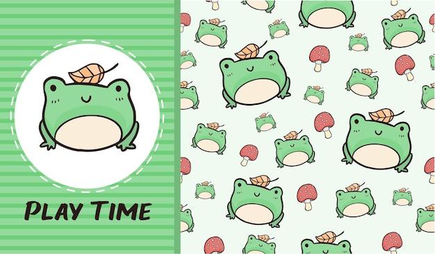 Cute green frog cartoon seamless pattern wallpaper background