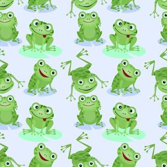 Cute green frogs seamless pattern.