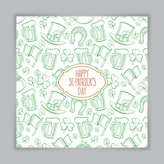 St. patrick의 날 귀여운 녹색 인사말 카드. 손으로 그린 그림.