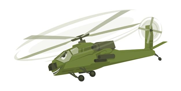 Симпатичный зеленый военный смешной персонаж мультфильма вертолета