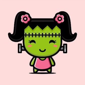 Cute green monster girl character