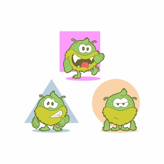Cute green monster with 3 level mood, happy, enough, bouring