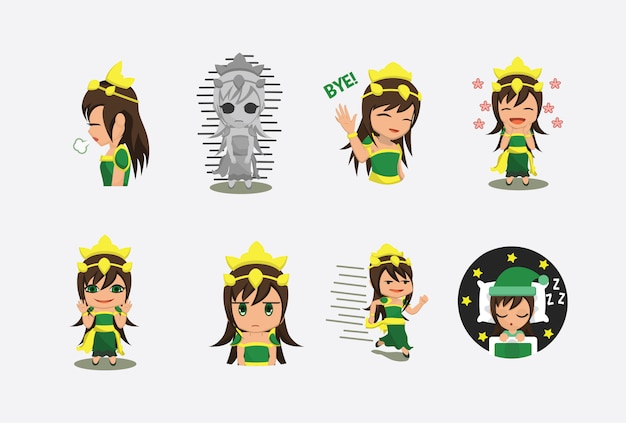 Cute green noble female queen sticker character   with multiple expression pose