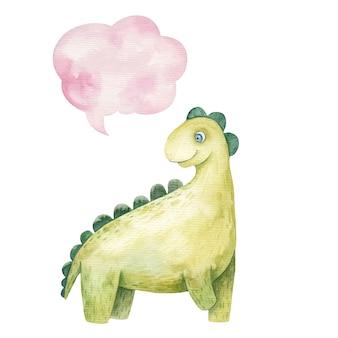 Милый зеленый маленький динозавр улыбается и думает значок, облако, детская иллюстрация акварель