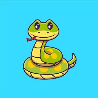 Cute green snake cartoon   illustration. animal nature  concept isolated . flat cartoon
