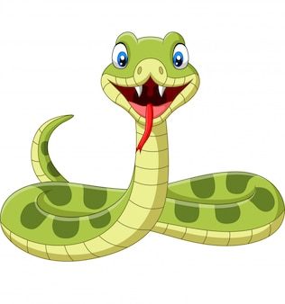 Cute Green Snake Cartoon Premium Vector