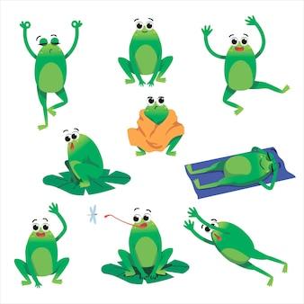 Набор иллюстраций мультяшного персонажа милая зеленая жаба