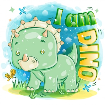 Cute green triceratops playing with butterfly illustration