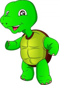 Мультфильм милая зеленая черепаха на белом фоне