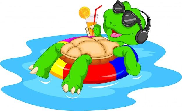 Cute green turtle cartoon