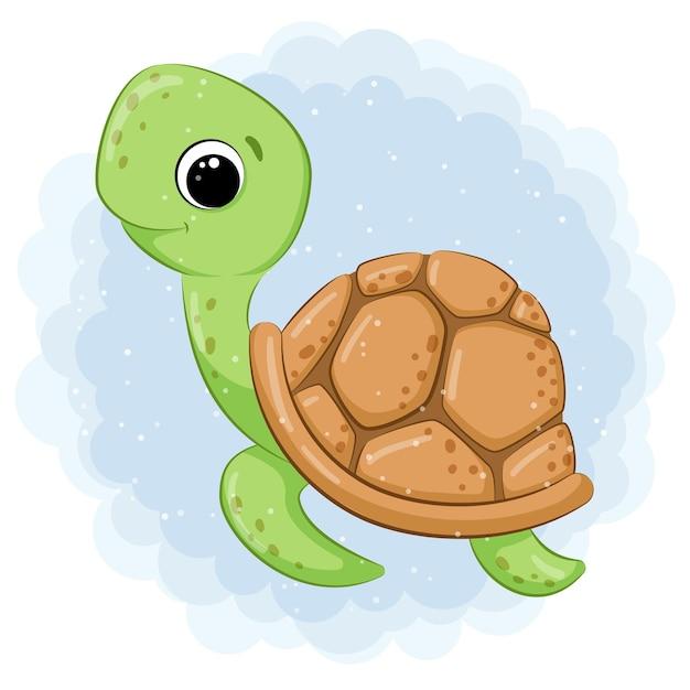 Cute green turtle swimming in the sea cartoon illustration