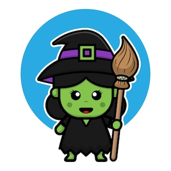 Cute green witch cartoon icon illustration