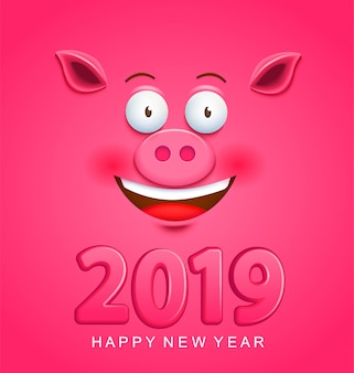 Cute greeting card for 2019 new year