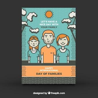 오렌지 세부 사항이있는 가족의 국제적인 날을위한 귀여운 인사말 카드