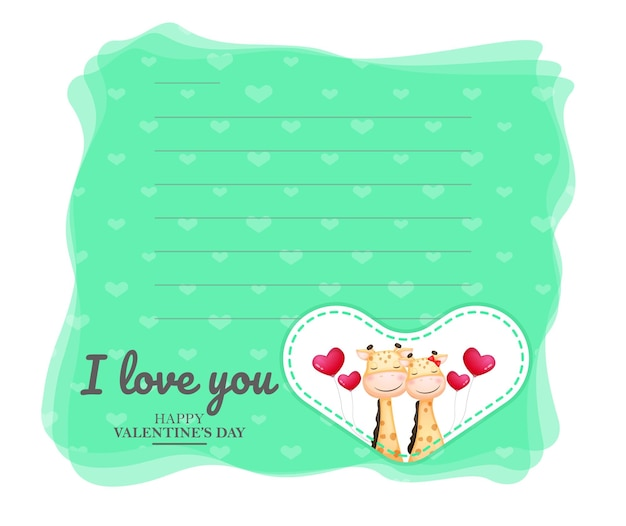 Cute greeting card and giraffe couple for valentine's day