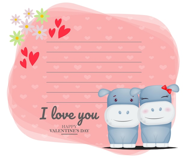 Cute greeting card and hippo couple for valentine's day