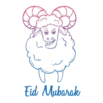 Cute greeting card for muslim community festival eid mubarak