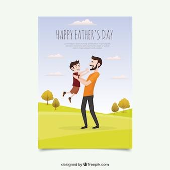 그의 아들을 야외에서 노는 아버지의 귀여운 인사말 카드