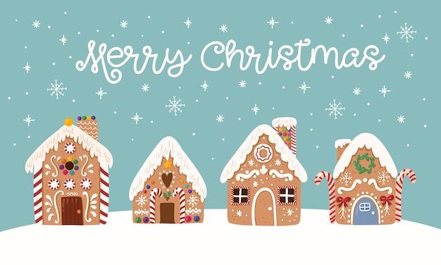 Симпатичная открытка из пряников сладкого рождественского традиционного печенья в рисованном стиле