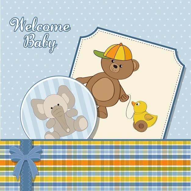 Cute greeting card with boy teddy bear