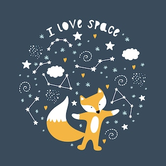 Cute greeting card with a fox and space